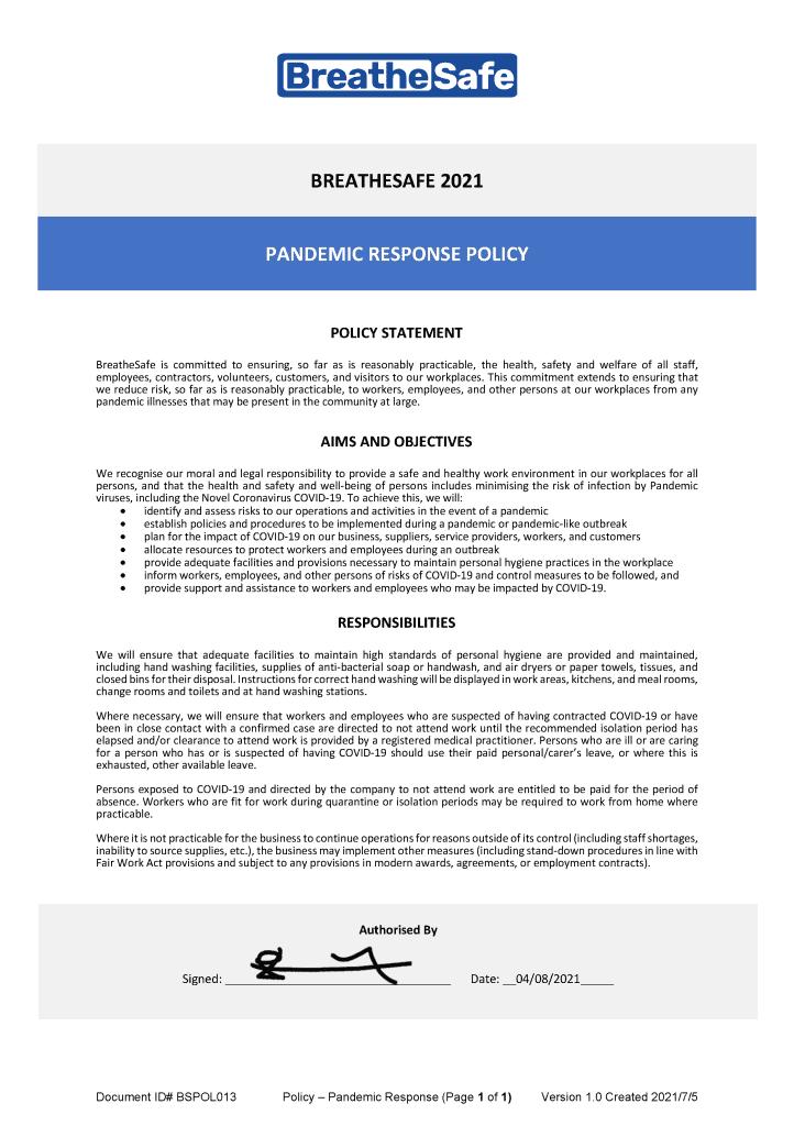 BreatheSafe Pandemic Response Policy