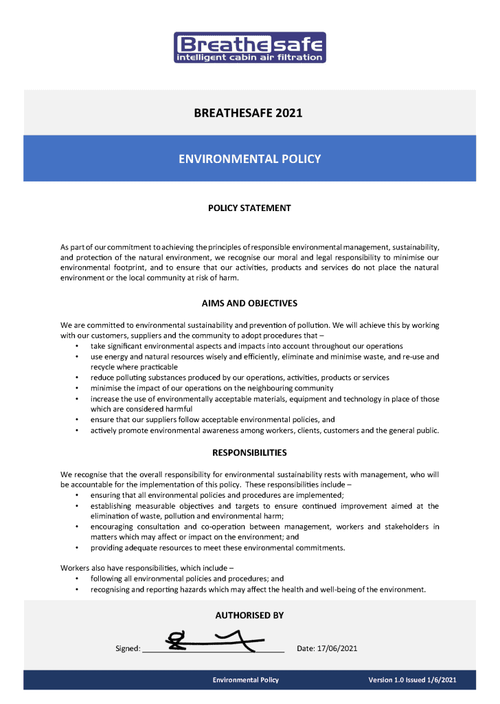 BreatheSafe Environment Policy